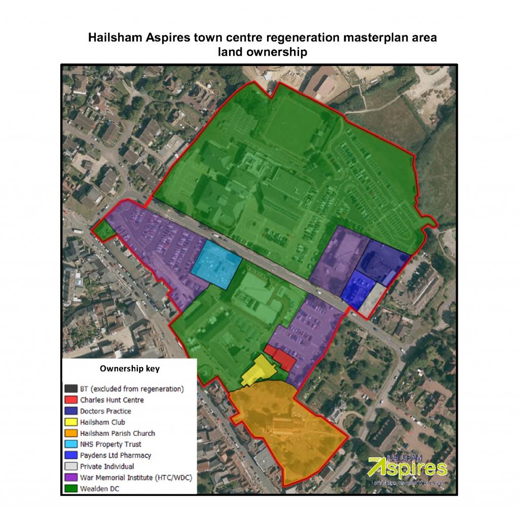 Ariel view to show Hailsham Aspires town centre regeneration masterplan area land ownership